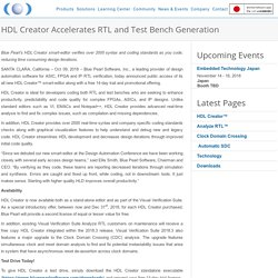 HDL Creator Accelerates RTL and Test Bench Generation - Blue Pearl Software Inc.
