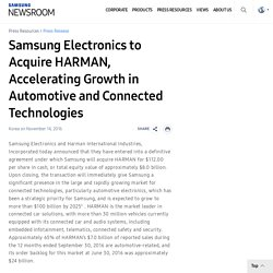 Electronics to Acquire HARMAN, Accelerating Growth in Automotive and Connected Technologies – Samsung Global Newsroom