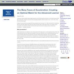 The Many Faces of Acceleration: Creating an Optimal Match for the Advanced Learner