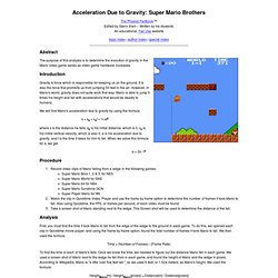 Acceleration Due to Gravity: Super Mario Brothers