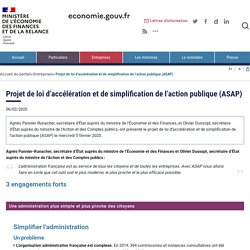 6 février 2020 - Projet de loi d'accélération et de simplification de l'action publique (ASAP)