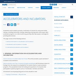 Accelerators and Incubators - MaRS Commons Startup Library