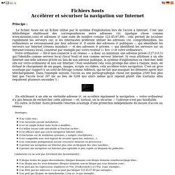 Fichier hosts - Accélérer et sécuriser sa navigation sur Internet