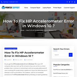 HP Accelerometer Error in Windows 10