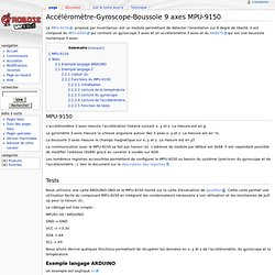 Accéléromètre-Gyroscope-Boussole 9 axes MPU-9150 - Wiki Arobose