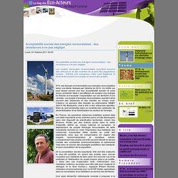 Acceptabilité sociale des énergies renouvelables : des résistances à ne pas négliger