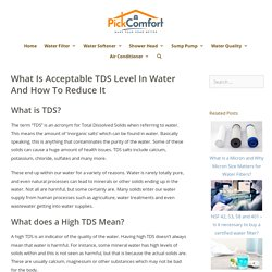What Is Acceptable TDS Level In Water And How To Reduce It - Pick Comfort