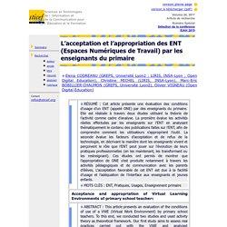 L'acceptation et l'appropriation des ENT (Espaces Numériques de Travail) par les enseignants du primaire