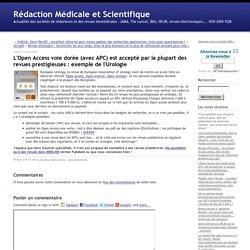 L'Open Access voie dorée (avec APC) est accepté par la plupart des revues prestigieuses : exemple de l'Urologie