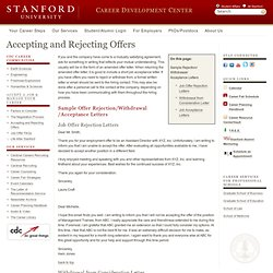 Career Development Center - Accepting and Rejecting Offers