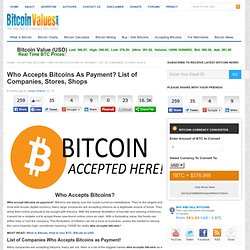 Who Accepts Bitcoins As Payment? List of Companies