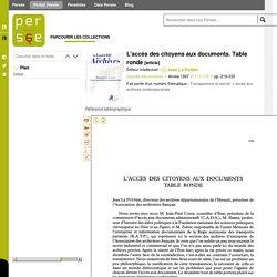 L'accès des citoyens aux documents. Table ronde