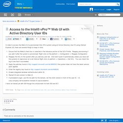 Access to the Intel® vPro™ Web UI with Active Directory User IDs