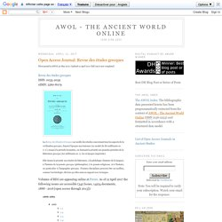 AWOL - The Ancient World Online: Open Access Journal: Revue des études grecques