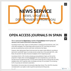 OPEN ACCESS JOURNALS IN SPAIN – News Service