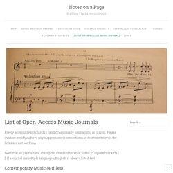 List of Open-Access Music Journals