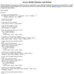 Access MySQL Database with Python