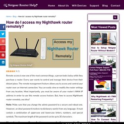 Access my Nighthawk router remotely