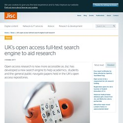 UK's open access full-text search engine to aid research