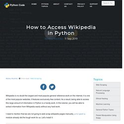 How to Access Wikipedia in Python - Python Code