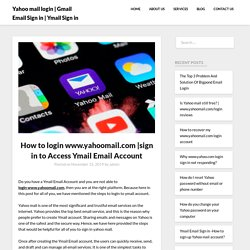 sign in to Access Ymail Email Account
