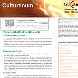 L'accessibilité des sites web (Culturenum - U. Caen - Notes de synthèses par les étudiant-e-s)
