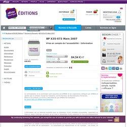BP X35-073 - Prise en compte de l'accessibilité - Information