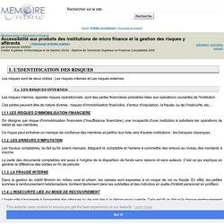 Accessibilité aux produits des institutions de micro finance et la gestion des risques y afférents - Emmanuel SANOU