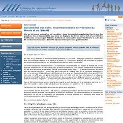 Accessibilité aux soins, recommandations de Médecins du Monde et de l'INAMI