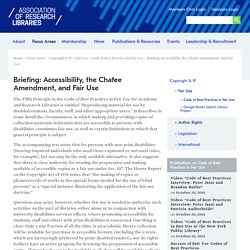 Briefing: Accessibility, the Chafee Amendment, and Fair Use