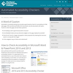 Accessibility checkers