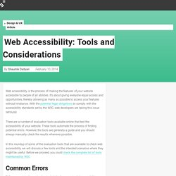 Web Accessibility: Tools and Considerations