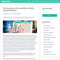 The Importance of Accessibility in Mobile App Development - Wiinnova Software Labs