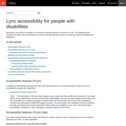 Lync accessibility for people with disabilities
