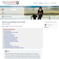 Web Accessibility Gone Wild - Now even wilder!