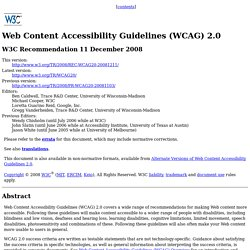 WCAG 2.0 Home Page