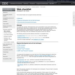 IBM Human Ability and Accessibility Center | Forms | Web checkpoint 7