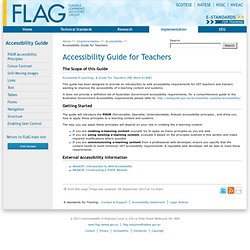 Accessibility Guide for Teachers - Accessibility - Implementation - E-standards for Training
