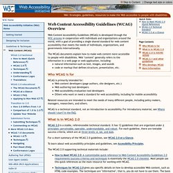 WCAG Overview | Web Accessibility Initiative (WAI) | W3C