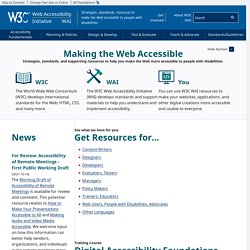 Web Accessibility Initiative (WAI) - home page ◦ Web Accessibility Initiative ◦ W3C