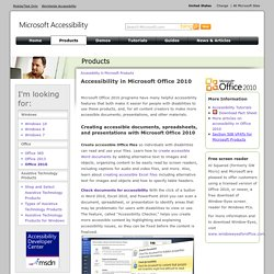 Accessibility in Microsoft Office 2010