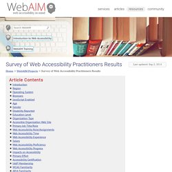 Survey of Web Accessibility Practitioners Results