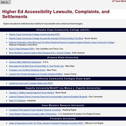 Higher Ed Accessibility Lawsuits, Complaints, and Settlements