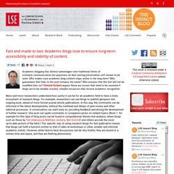 Fast and made to last: Academic blogs look to ensure long-term accessibility and stability of content.
