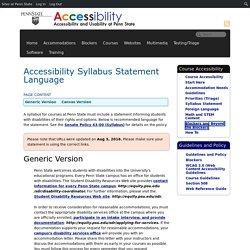Accessibility Syllabus Statement Language