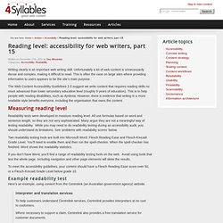 Reading level: accessibility for web writers, part 15