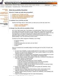 Accessibility - Web Accessibility Checklist