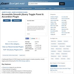 Accessible Smooth jQuery Toggle Panel & Accordion Plugin