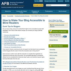 How to Make Your Blog Accessible to Blind Readers