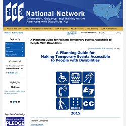 A Planning Guide for Making Temporary Events Accessible to People With Disabilities